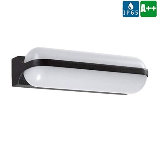 18w Laterne (Innen/Außen LED Wandleuchte, Schwarz metall aluminium garten wandlampe, IP65 wasserdichte Sicherheit Veranda Laterne, Weißer Glaslampenschirm Wandstrahler - Blendfrei, 3000K warme Licht,18W)