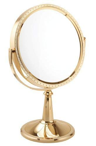 Fancy metal goods 10 x magnification gold pedestal mirror