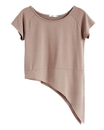 Oberteil,Damen Kurze Ärmel Verband T-Shirts Fitness Yoga Square Tanz Tops Kaki XL