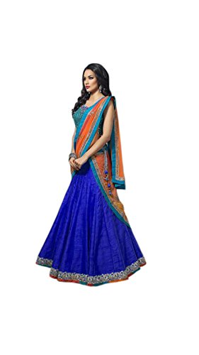 Vipul Women\'s Branded Blue & ORANGE Party Wear Silk Lehenga (Best Gift For Mummy Mom Wife Girl Friend, Exclusive Offers and Sale Discount)