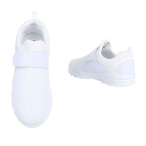 Low-Top Sneaker Damenschuhe Low-Top Sneakers Klettverschluss Ital-Design Freizeitschuhe Weiß