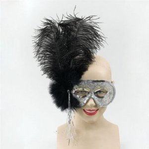 Ostrich Feather. Black Alpha Masquerade Party Fancy Dress Disguise Masks & Eyemasks Outfit Accessory by Bristol Novelties
