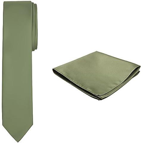 Jacob Alexander Color Sólido Skinny corbata y pañuelo para hombre, color verde oliva