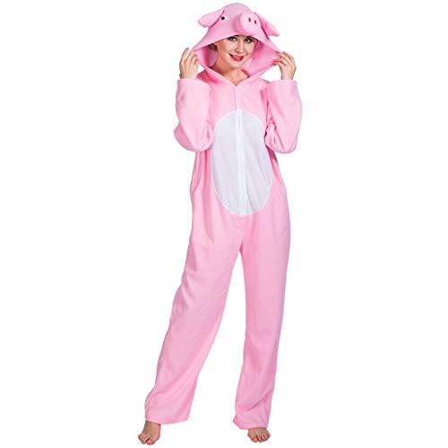 EraSpooky Unisex Schwein Ferkel Tier Kostüm Faschingskostüme Einteiler - Halloween Party Karneval Fastnacht Tierkostüm für Erwachsene Herren Damen