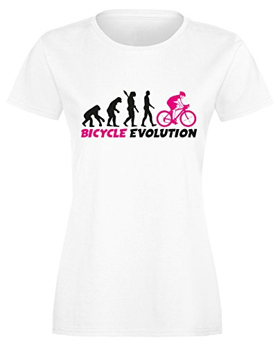 Bicycle Evolution - Fahrrad Evolution - Damen Rundhals T-Shirt Weiss/Schwarz-neonpink