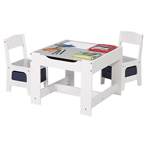 eSituro Kindertisch mit 2 Stühle mit Stauraum, Maltisch Kindersitzgruppe 3 Teilige Kindersitzgarnitur Tisch und Stuhl Set, Tischplatte abnehmbar in Schwarz und Grau, SCTS0004