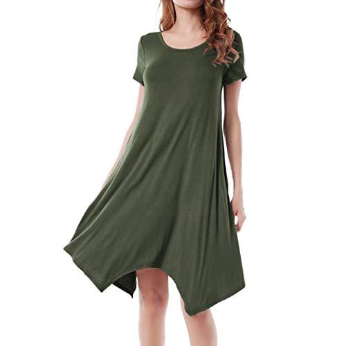 Kanpola Kleider Damen Sommerkleider Unregelmässig Basic Shirtkleid Freizeitkleid Longshirts...