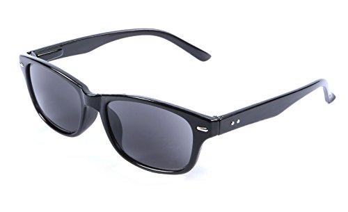+1.00 Schwarze Lesebrille Sonnenbrille, 100% UV-Schutz Getönte Gläser, Männer Frauen Retro Vintage Zeitlos Fall & Stoff