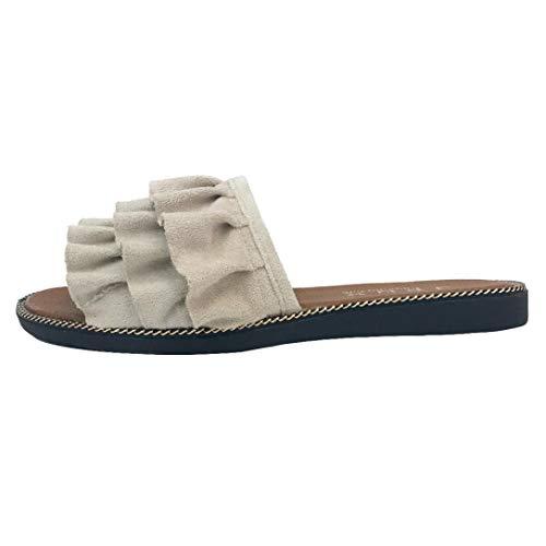 Pantofole donna, honestyi scarpe da spiaggia - sandali e pantofole - tinta unita - pizzo - tacco piatto - interno e all'aperto - ciabatte da donna pantofola ciabatta infradito ciabatte
