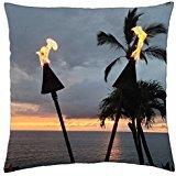 Torches Tiki Soirée Crépuscule Temps à Waimea Hawaïen Maui Hawaii–Housse étui couverture Taie d'oreiller (18