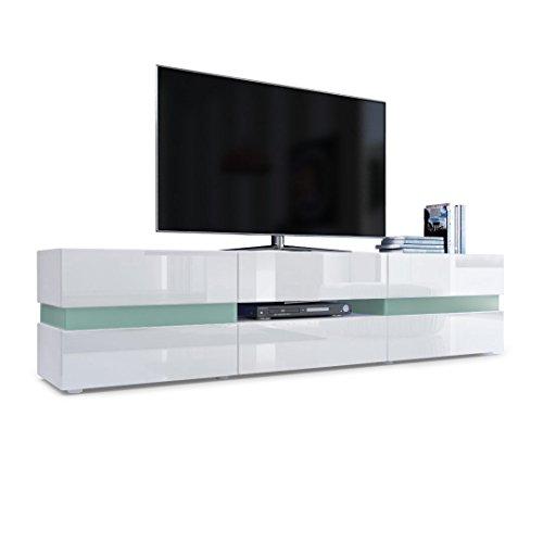 Meuble TV Armoire basse Flow en Blanc mat / Blanc laqué haute brillance