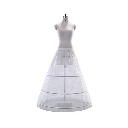 clocolor Femme simple A-Line trois couches de mariage JUPONS en acier pour robes de mariée Prom robes Blanc
