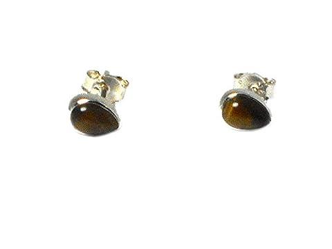 TIGER'S EYE Pear shaped Sterling Silver 925 STUD / Earrings - (TES2212161)