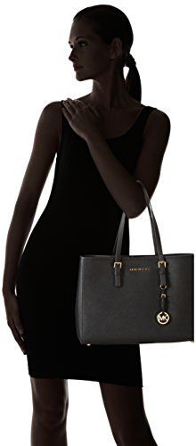 Michael KorsJet Set Travel Saffiano Leather Tote - Borsa con Maniglia Donna Nero (Black)
