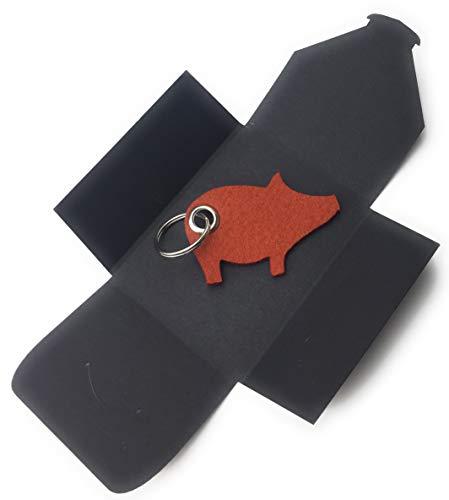 Schlüsselanhänger aus Filz - Schwein/Glücksschwein - hell-braun/rost-braun - als besonderes Geschenk mit Öse und Schlüsselring - Made-in-Germany