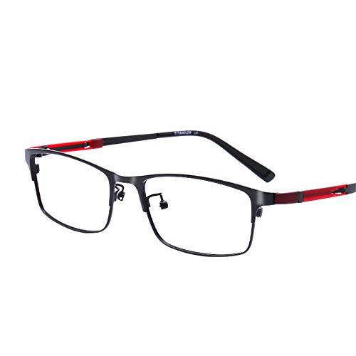 HAIBUHA Brille Reines Titan Ultraleicht Brillengestell Geschäft Flacher Spiegel Unisex (Farbe : Schwarz)
