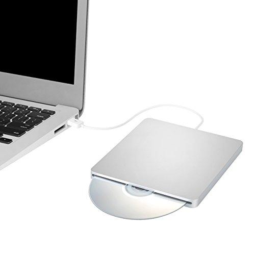 TOPELEK Grabadora CD Externa, Lector de CD/DVD, Disco Identificación Automática, Reproductor CD/DVD para Windows Mac OS Laptop Macbook Air y Otros Sistemas,Aspecto Clásico, Ligero y Portátil-Plata