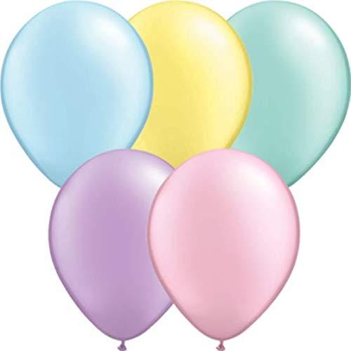 DeCoArt... Set Preis 5 Riesenluftballons Pastell perl Mix ca 40 cm und 5 Riesenballonverschlüsse Polyband sowie EIN weißes Aufblasventil (Falls doch Luftbefüllung)