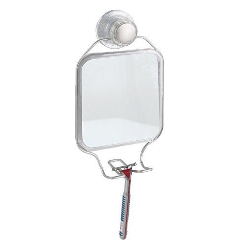 mDesign Espejo de baño con ventosas y con un práctico soporte – Espejo para la ducha para afeitarse – Espejo de maquillaje plateado
