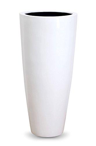 Vivanno Pflanzkübel Pflanzgefäß Blumenkübel exklusiv Fiberglas Weiß City - 100 x 47 cm