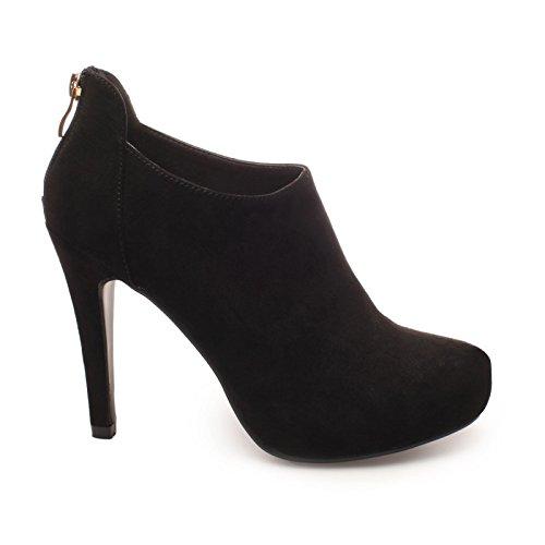 La Modeuse - Low bootssimili daim àtalon vertigineux et fin Noir