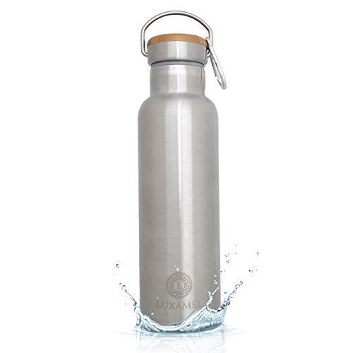 Luxamel Trinkflasche Edelstahl 750ml Isolierflasche, doppelwandige Edelstahl Wasserflasche & Trinkflasche Thermosflasche - 24 Stunden kalt & 12 heiß BPA frei (750ml, gebürstet)
