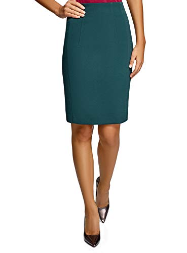 oodji Collection Femme Jupe Droite Taille Haute, Vert, FR 40 / M