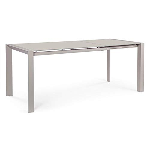 ARREDinITALY Table Plan Verre Extensible Taupe 122/182 x 80