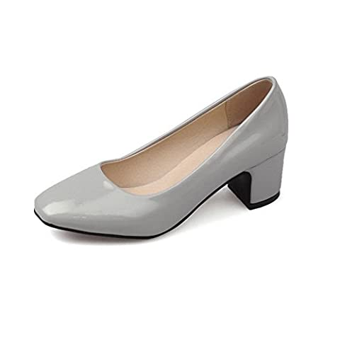 A&N Womens Square-Toe Chunky Heels Low-Cut Uppers Gray Patent-Leather Pumps-Shoes - 6 UK