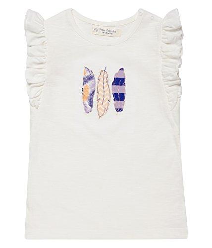 Sense Organics Baby-Mädchen Daisy T-Shirt, Mehrfarbig (White + Feather Applic 106001), 86 (Herstellergröße: 12M) (Daisy Kurzarm-shirt)