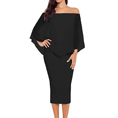 Ancapelion Damen Schulterfrei Midi Kleid mit Chiffon Schal Cocktailkleid Elegant Pencil Partykleid Lässige Kleidung Abendkleid Frauenkleid Kleider (Schwarz, L(EU 44-46)) -