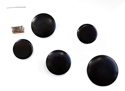 Runde Holz Wandhaken in schwarz - 5er Set - Design Wand Garderobe Kleiderhaken Garderobenhaken - Runde Garderobe
