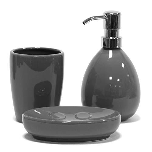 Jonas Set Accessori da Bagno in Ceramica – Elegante, Moderno e Resistente – 3 Pezzi, Dispenser, Porta Saponetta, Porta Spazzolino, Grigio