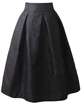 Falda Mujer Elegantes Falda Plisada Cintura Alta Vintage Años 50 A-Line Faldas Midi Ropa Fiesta Moda Jacquard...