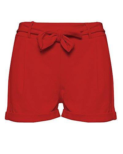 Kendindza Damen Sommer Shorts | Kurze Hose mit Schleife Zum Binden | Bermuda | Uni-Farben (OneSize, Rot) (Rote Wolle Hosen)