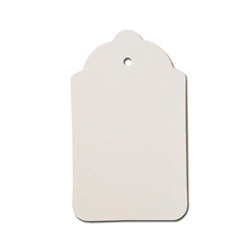 100 x Weiß Zeichenfolge Preisschild Etikett Karte Hang Tag 70mm x 40mm