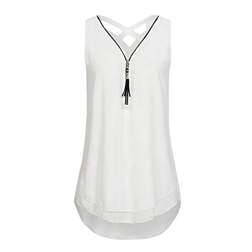 5 Womens V-neck T-shirt (IMJONO Women Loose Sleeveless Tank Top Cross Back Hem Layed Zipper V-Neck T Shirts Tops (Small,Zh-Weiß))