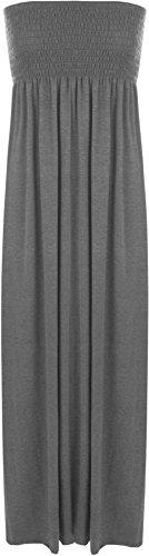 WearAll - Damen einfachen Shirred Bandeau trägerloses mit rüschen Besetztes langes Maxi Kleid - Dunkelgrau - 36-38 Bandeau-kleid