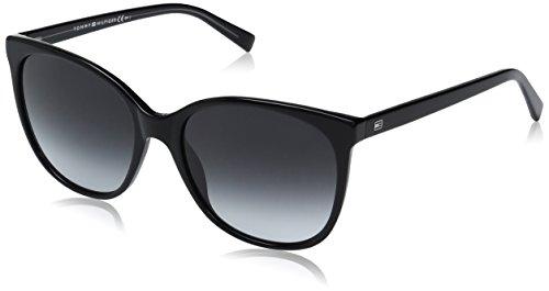Tommy hilfiger th 1448/s 9o 8y5, occhiali da sole donna, nero (black grey/dark grey sf), 56