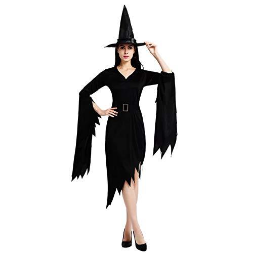 thematys Hexenkleid Hexen Kostüm-Set für Damen - perfekt für Fasching, Karneval & Halloween - Einheitsgröße 160-180cm (Style 1)