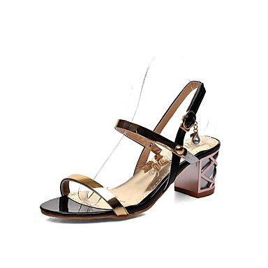 SANMULYH Scarpe Donna Similpelle Primavera Estate Comfort Sandali Chunky Tallone Punta Aperta La Fibbia Per Abbigliamento Casual Rosa Blu Nero Nero