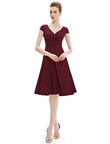 Ever Pretty Robe d'ete Courte Casual en V-col 05293 Rouge Bourguignon&Pois Blanc