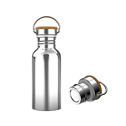 Interlink-UK Trinkflasche Edelstahl 500ml mit Bambusdeckel Isolierflasche Getränkeflasche Sportflasche BPA Frei Vakuumisolierte Doppelwandig Thermoskanne für Outdoor, Büro, Camping (500ml)