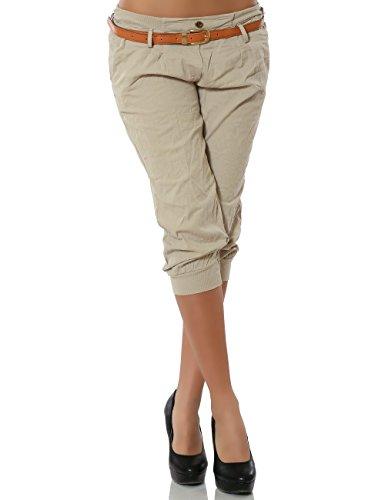 Damen Chino Capri Hose inkl. Gürtel (weitere Farben) No 13235, Größe:S / 36;Farbe:Beige