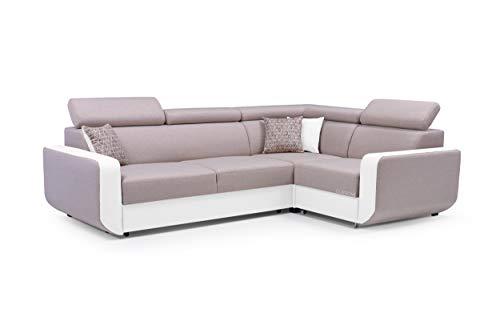 MOEBLO Ecksofa mit Schlaffunktion Eckcouch mit Bettkasten Sofa Couch L-Form Polsterecke Celine (Beige + Weiß, Ecksofa Rechts)
