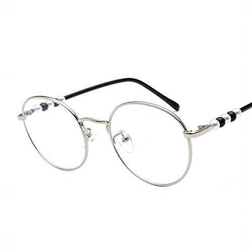 UICICI Frauen Runde Rahmen Gläser Flacher Spiegel Perle Dekorative Gläser Beine (Farbe : Silver Frame)