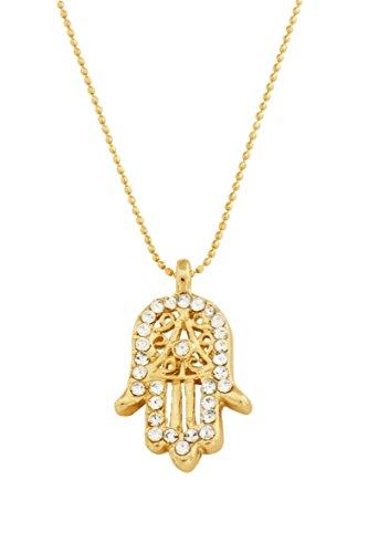 Remi Bijou - Wunderschöne Halskette Kette Anhänger - Fatimas Hand Hamsa - Gold Farbe Zirkonia Strass