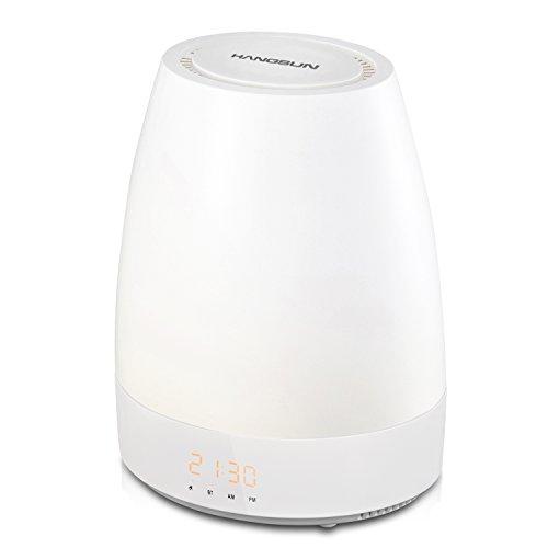 Hangsun Lampe de Réveil Bluetooth SL320 Lampe de Chevet Veilleuse Enfant Bébé , Lumière de LED, Simulateur d'aube, 8 Sons Naturels, 3 Réglages d'Intensité Lumineuse, Snooze, Touches Tactiles