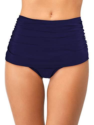 Bas de Maillot de Bain Rétro Femme Bas de Bikini Froncé à la Taille Haute Short de Bain Tankini pour Vocations (Bleu Marin, XL Taille)