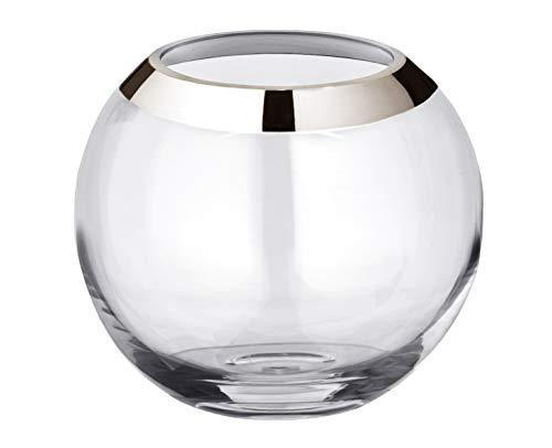 EDZARD Vase Kugelvase Mirinde, mundgeblasenes Kristallglas mit Platinrand, Höhe 18 cm, ø 20 cm, Öffnung ø 10 cm